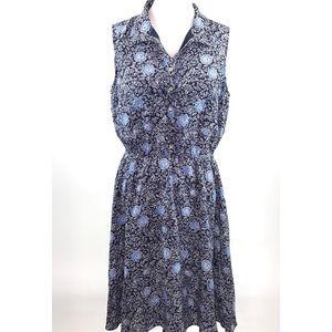 Garnet Hill Floral Blue White 100% Silk Dress 12